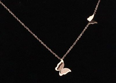 18K Rose Gold Titanium Stainless Steel Butterfly Pendant Necklace Gift Box PE12 18k Titanium Necklace