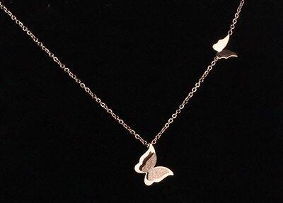 18K Rose Gold Titanium Stainless Steel Butterfly Pendant