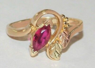 Black Hills Gold Ruby Ring (Black Hills Gold 10 kt 12 kt Marquise Ruby Leaves Ring Size 7)