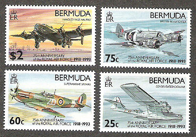BERMUDA SCOTT 648-651 75th ANNIVERSARY ROYAL AIR FORCE MINT NH