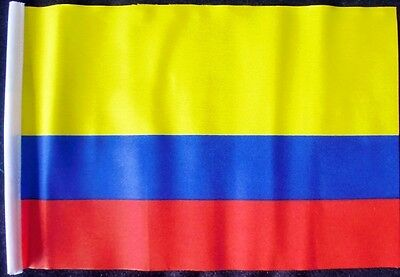 """COLOMBIA DELUXE SATIN TABLE FLAG 9/""""X6/"""" CHROME POLE /& BASE Stands 15/"""" COLOMBIAN"""