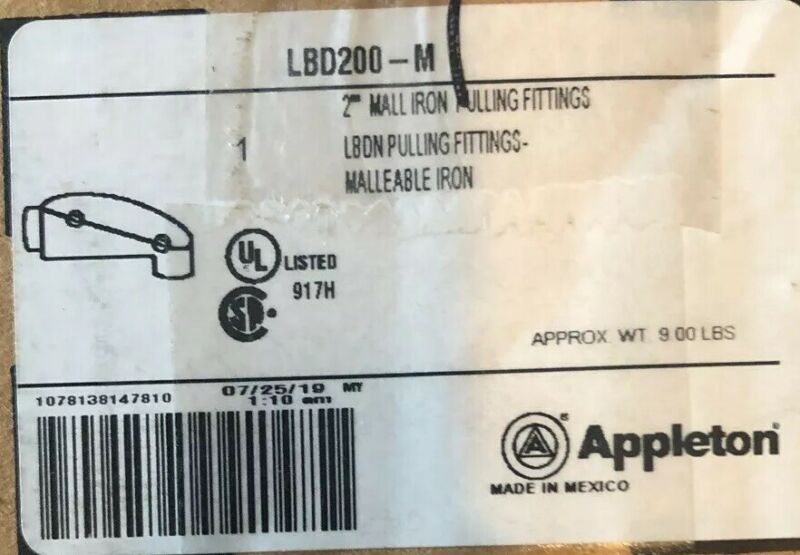 "Appleton LBD200-M 2"" Malleable Iron Pulling Fitting LBDN"