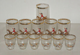 ANTIQUE VINTAGE COLLECTABLE WHISKY SPIRIT SHOT GLASSES BUNDLE GOLD RIM HORSEMAN*