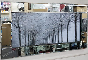 Black & white picture of the woods with crystals, liquid art & mirror frame