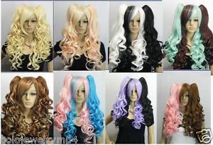 Cosplay-8-multi-colors-mix-long-curly-split-type-wig-Two-Clip-Ponytail
