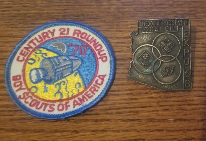 BOYS SCOUTS OF AMERICA BSA 1970 ROUNDUP PATCH UNUSED VINTAGE 1968 TIE RING