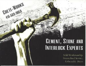 FREE ESTIMATES - Cement, Stone & Interlock Experts