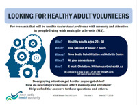Looking for Healthy Adult Volunteers for Research on MS