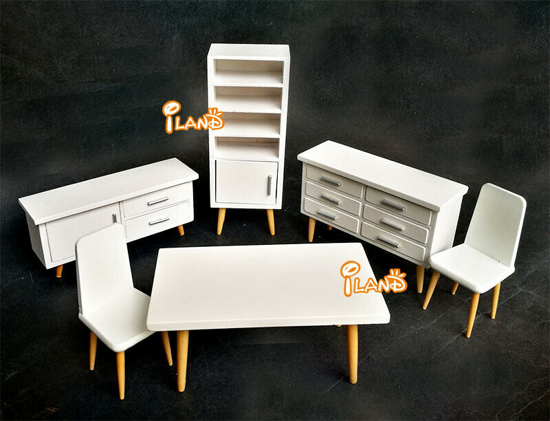 1:12 Dollhouse Wooden Living Room Dining Room White Dining Table and Chair Set