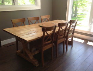 Country harvest table and 6 ikea ingolf chairs