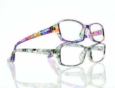 New Rainbow Cyan Leaves & Flowers Resin Lens Reading Glasses +1.00 ~ +4.00