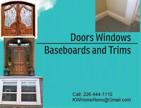 Doors Windows Baseboards and Trim Install & Painting Services...