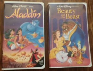 2 vhs BLACK DIAMOND editions Beauty and the Beast Aladdin Pre-ow