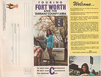 Vintage Fort Worth Tarrant County Area Tourist Brochure   Points Of Interest Map