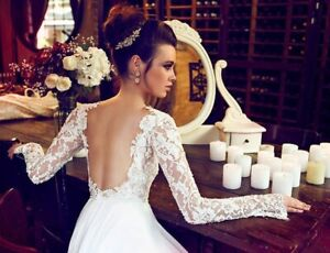 Elegant Wedding Dress - Open Back, Stunning Lace with Sleeves!