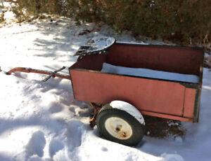 Garden Cart - Tow Behind Metal Dump Cart/Trailer