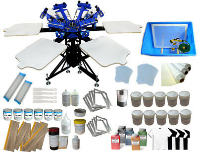 6 Color Silk Screen Printing Kit Full Set Hand Tools Liquid 6 Station Press