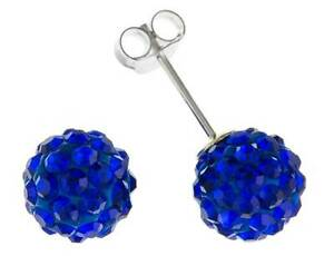 925-STERLING-SILVER-6MM-BLUE-CRYSTAL-CLUSTER-BALL-STUD-EARRINGS-PIERCED-GIFT-BOX