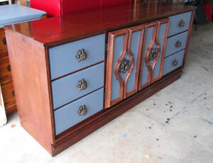 Elegant Solid Wood Grey/ Brown Long Dresser or sideboard.