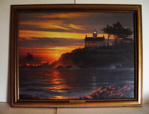 Lighthouse Painting: Sunset Sentinel by William S Philips