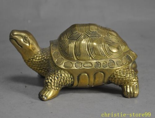 """5""""Chinese Fengshui brass copper longevity lucky animal turtle tortoise statue"""