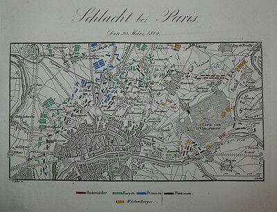 1840 Paris Montmartre Napoleon Befreiungskriege Kolorierter Kupferstich-Plan
