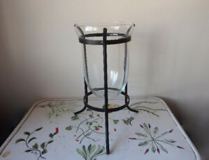 Hurricane candle holder on wrought iron pedestal