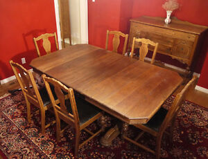 Antique oak dining room suite (with china cabinet and buffet)
