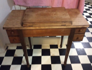 1960 sewing desk. Folds open and has a place for sewing machine