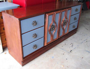 Elegant Solid Wood Grey and Brown Long Dresser or sideboard.