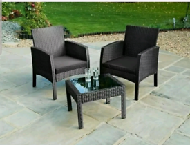 Black Al Fresco Sorrento 3pc Rattan Wicker Garden Furniture Bistro