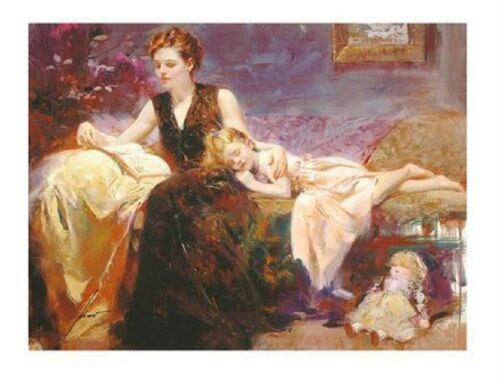 "Pino ""Precious Moments"" Embellished Stretched S/N Canvas 36x48 Mother & Daughter"
