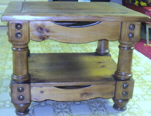 Very solid wooden coffee table with wonderful handmade ornaments