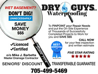 WET BASEMENT? DON'T DIG UNNECESSARILY! SAVE MONEY $