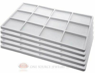 5 White Insert Tray Liners W 12 Compartments Drawer Organizer Jewelry Displays
