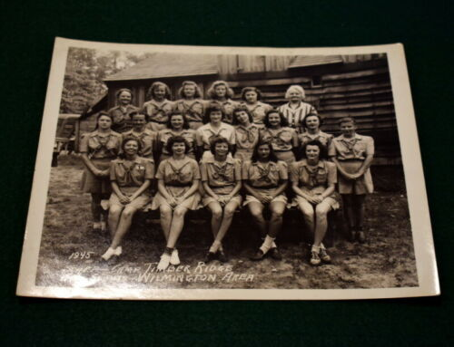VINTAGE GIRL SCOUT - 1945 CAMP TIMBER RIDGE GIRL SCOUT 8 x 10 PHOTOGRAPH