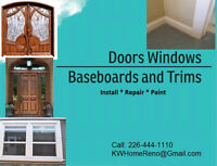 Doors Windows Baseboards and Trim Install & Painting   Services