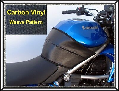 2009   2011 Kawasaki 650R Ninja Tank Cover Black Vinyl Carbon Weave By Targa