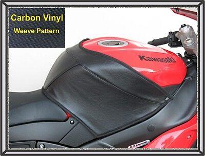 2007   2008 Zx6r Ninja Targa Tank Cover Black Vinyl Carbon Weave Finish