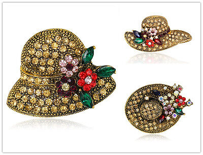 Unique Females Party Gold Plated Rhinestone Chic Jewelry Hats Brooch Pin - Gold Party Hats