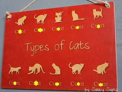Types of Cat Breeds C*nts  - Naughty Dog Lover Sign - Shed Collar Toys Pets Cats