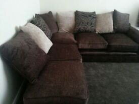 brand new sofa corner fabric brown beige 3 seater pouffe settee
