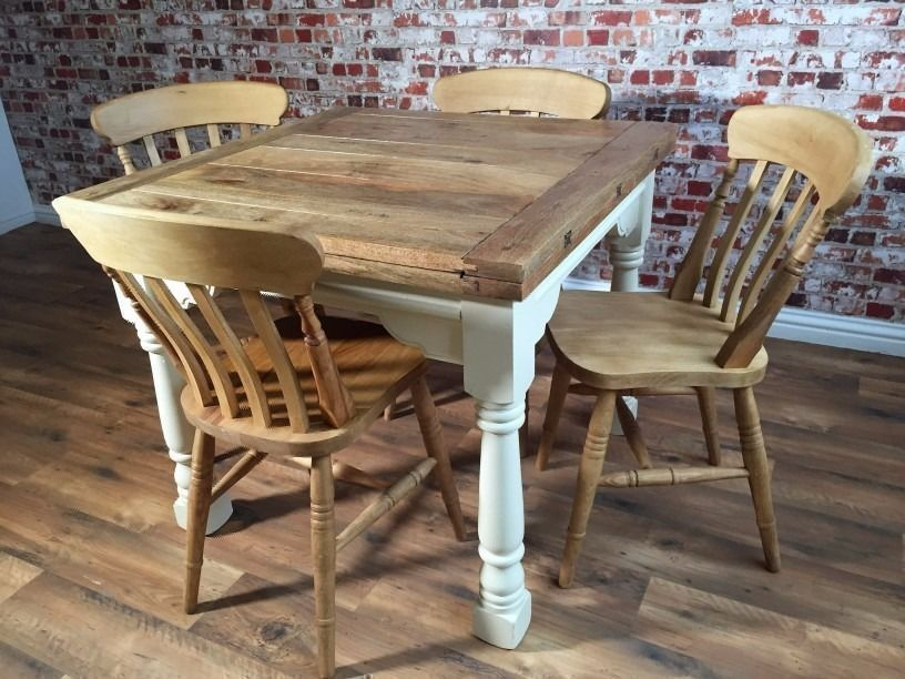 Extending Rustic Farmhouse Dining Table Set - Drop Leaf Painted in Farrow & Ball - - Antique Chairs