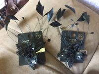 2 New Look Black Sequin & Feathers Flower Hair Fascinator Clips Never Worn