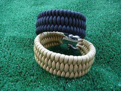 Adjustable Paracord Bracelet w SS Shackle TRILOBITE - WIDE FISHTAIL. CUSTOMIZE
