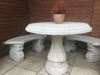Two Concrete Benches and a Table - Garden furniture