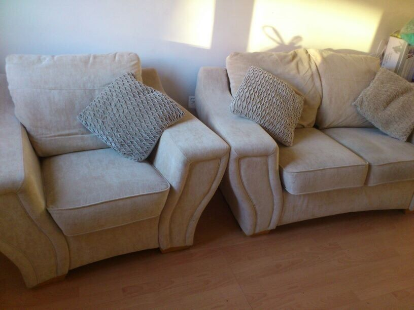 Comfy 2 seater sofa and matching arm chair