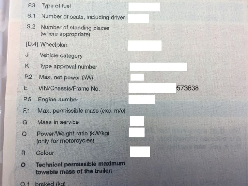 VIN/Chassis/Frame Number on your vehicles documentation