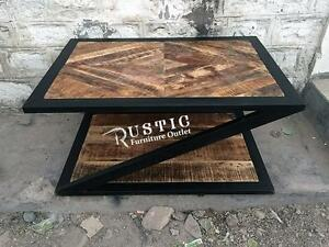 Rustic solid wood industrial coffee tables