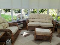 Daro cane conservatory furniture suite. 2 chairs, settee, padded stool/pouffe and table.
